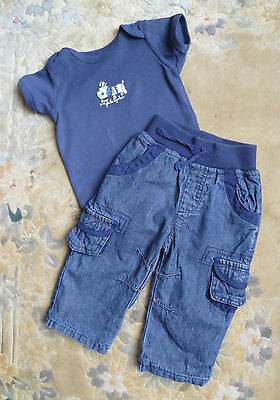 Baby clothes BOY 3-6m  George dark blue jeans/trousers/navy blue dog bodysuit