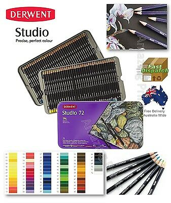 72 Derwent Studio Colour Pencils Pack Art Craft tin drawing adult colouring book