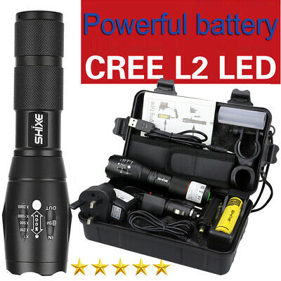 SHIXE 20000LM Tactical XM-L2 Zoomable LED Flashlight Battery Charger Torch Lamp