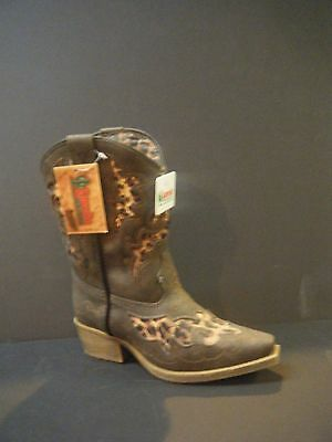 Cowgirl Boots Laredo Girl's Brown Boots Cheetah Print Underlays LC2233 CLEARANCE