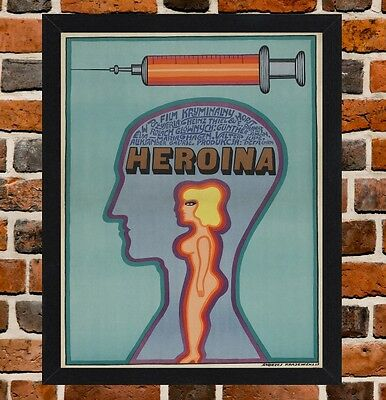 Framed Heroin Polish Movie Poster A4 / A3 Size Mounted In Black Frame