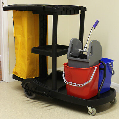 Large Janitor/Housekeeping Trolley/Cleaning Cart with Mop Buckets & Wringer