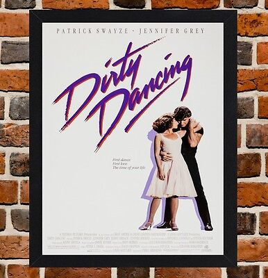 Framed Dirty Dancing Movie Poster A4 / A3 Size Mounted In Black / White Frame