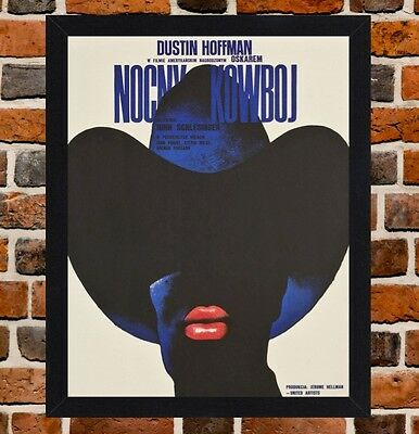 Framed Midnight Cowboy Polish Movie Poster A4 / A3 Size In Black / White Frame