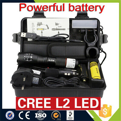5000LM XML-T6 LED Flashlight Rechargeable Tactical Torch Lamp Charger Battery