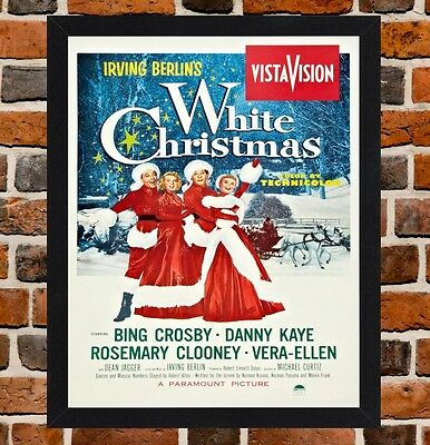 Framed White Christmas Movie Poster A4 / A3 Size Mounted In Black - White Frame