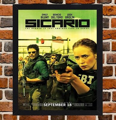 Framed Sicario Movie Poster A4 / A3 Size Mounted In Black / White Frame (Ref-5)