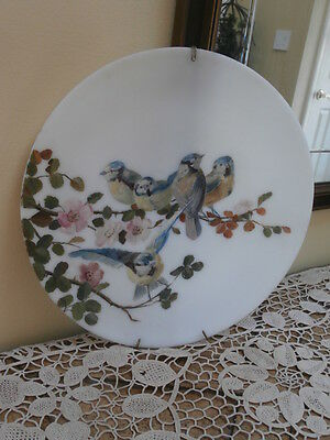 Antique Hand Painted Bristol Glass Charger~Birds And Dogwood
