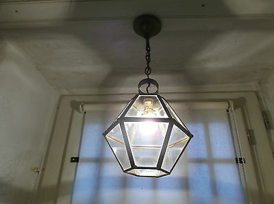 French ceiling light 12 panel glass patina brass classic vintage