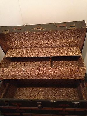 "Antique large 40"" steamer trunk flat top luggage chest with insert"