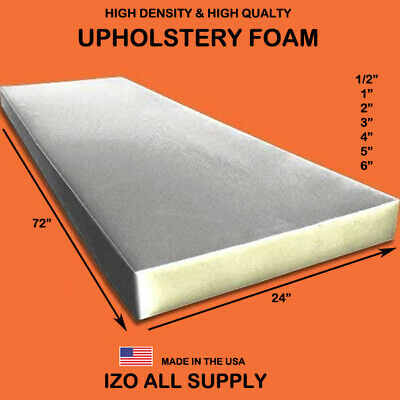 "High Density Seat Foam Cushion Replacement Upholstery Foam Per Sheet 24""x 72"""
