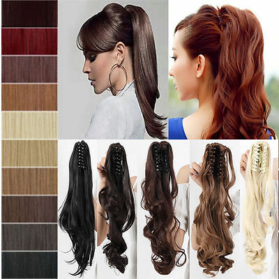 Claw CLIP PONYTAIL HAIR PIECE Curly Straight BLONDE BROWN BLACK RED AUBURN