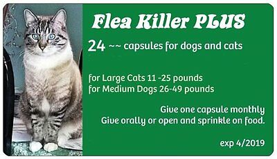 Flea Killer PLUS for Cats 11-25 lbs ~24 Green Pills ~ 2 Year Treatment for 1 Cat
