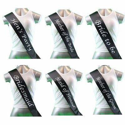 Hens Night Bridal Sash Sashes Bride Bridesmaid Maid Of Honour - Black & White