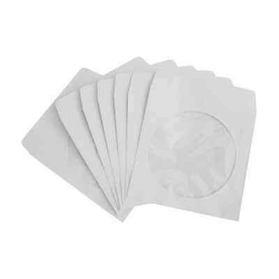 100 Pack White CD DVD Paper Envelope Sleeve w/ Clear Window Film Flap