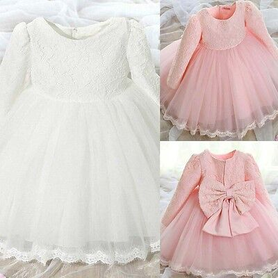 Toddler Baby Kids Girls Princess Pageant Lace Bowknot Tulle Formal Party Dress