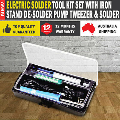 NEW Electric Solder Tool Kit Set With Iron Stand De-solder Pump Tweezer & Solder