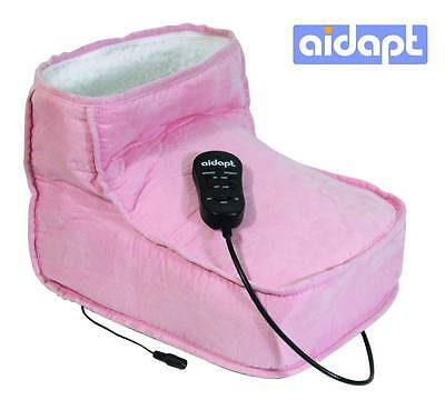 Soft Relaxing Dual Speed Pink Electric Foot Massage & Heated Foot Warmer Boot