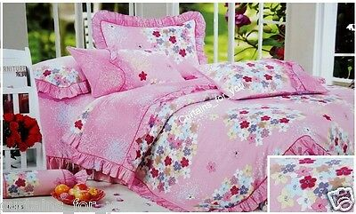 *COTTON  3 PCS BEDDING SET PINK FLOWERS SINGLE SIZE AMAZING FOR YOU FREE p&p