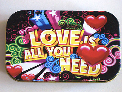 new slim 1oz hinged tobacco tin Love is all you need