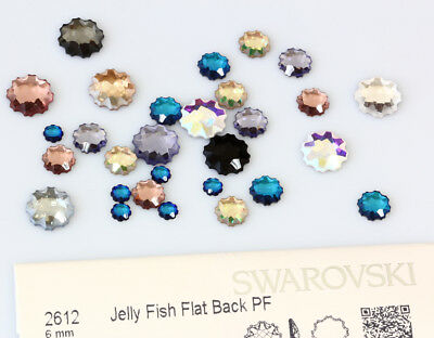 Genuine SWAROVSKI 2612 Jelly Fish Flat Back NoHotfix Crystals Partly Frosted
