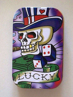 new slim 1oz hinged tobacco tin lucky skull dice