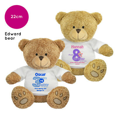 Personalised Name Birthday Edward Teddy Bear Present Gifts Ideas for Boys Girls