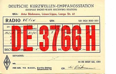 Old 1930's QSL radio card Germany DE 3766 H