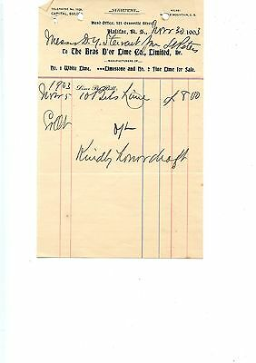 Old letterhead The Bras D'or Lime Co. Limited Halifax NS 1903