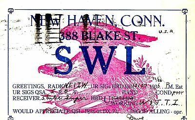 Old  1930's QSL radio card SWL New Haven Conn. DAVID ALLING