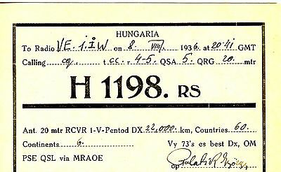 Old  1930's QSL radio card  H 1198 HUNGARIA