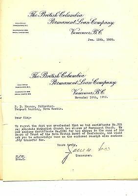 Old letterhead letter head THE BRITISH COLUMBIA PERMANENT LOAN CO. 1920