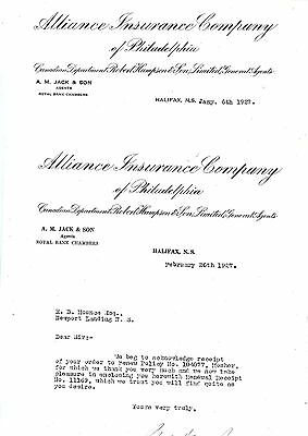 2 Old letterhead letter head Alliance Insurance Co. of Philadelphia 1927