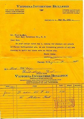 Old Letterhead  VICTORIA INVERNESS BULLETIN Truro NS 1951 NEWSPAPER Truro NS