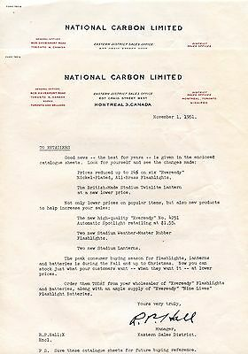 Old letterhead  NATIONAL CARBON LIMITED 1951 Montreal Can 2 pgs