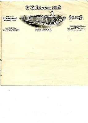 Old letter head letterhead T. S. SIMMS and Co. Ltd. Saint john NB Brushes