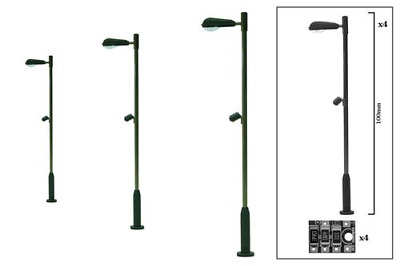DCC Concepts DML-MLS4 Modern Single Head Station Lamp (4 Pack) OO Gauge