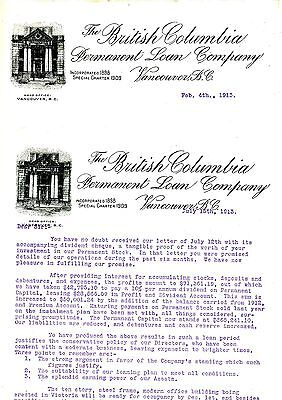 Old letterhead letter head THE BRITISH COLUMBIA PERMANENT LOAN CO. 1913 (2 of)