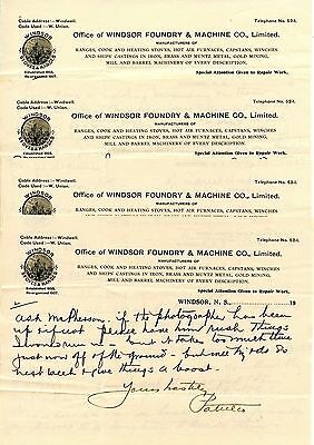 Old Letterhead  OFFICE OF WINDSOR FOUNDRY & MACHINE CO. LTD  WINDSOR NS 1913