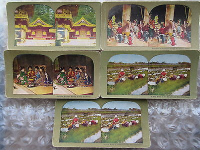 5 Antique Stereoviews Around the World Japan Views Lithograph