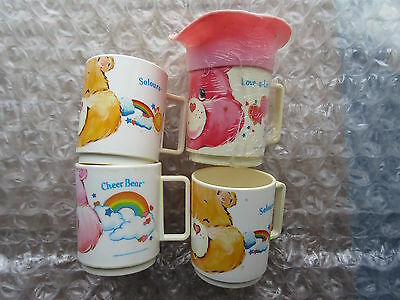 4 Old 1986 Vintage Plastic Care Bear Children's Mugs