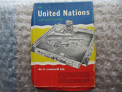Old 1955 3-D United Nations How it Works Teaching Game Cut out Workit