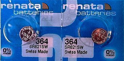 364 RENATA WATCH SR621SW BATTERY (2 piece) FREE SHIPPING Authorized Seller