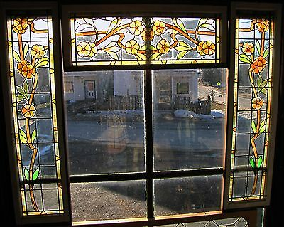Rare Arts And Crafts Orange Flower 3 Piece Stained Glass Set