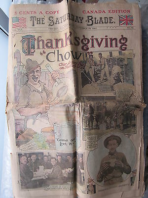 Old 1917 Newspaper The Saturday Blade Chicago Thanksgiving Chow