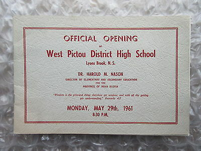 Old 1961 Official Opening West Pictou District High School Booklet