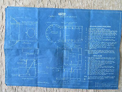 Old 1943 Blueprint Drawing Fawcet Furnace Sawdust Burner