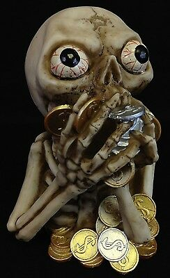Skeleton Eating Money Coin Bank Collectible Statue Figurine