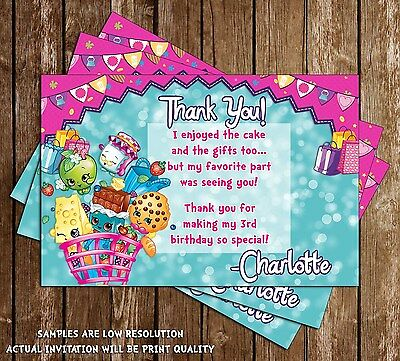 Shopkins Birthday Party Thank You Card - 15 Printed W/envelopes