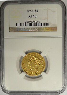 1852 $5 Gold Liberty, NGC XF 45